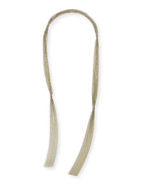Brunello Cucinelli | Metallic Long Multi-strand Monili Wrap Necklace | Lyst