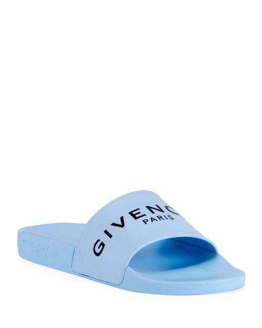 Givenchy - Blue Men's Logo Pool Slide Sandals for Men - Lyst