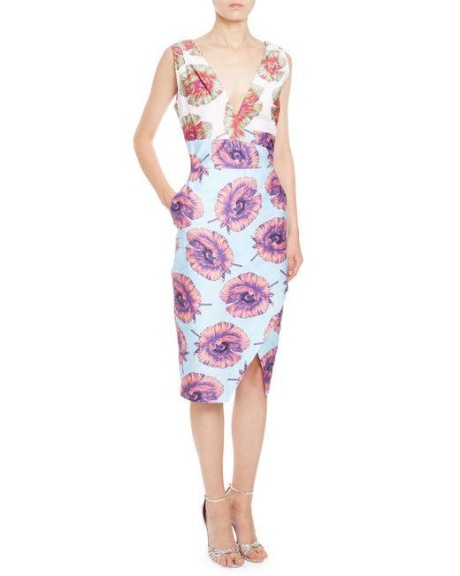 Altuzarra | Blue Elida Floral Sleeveless Sheath Dress | Lyst