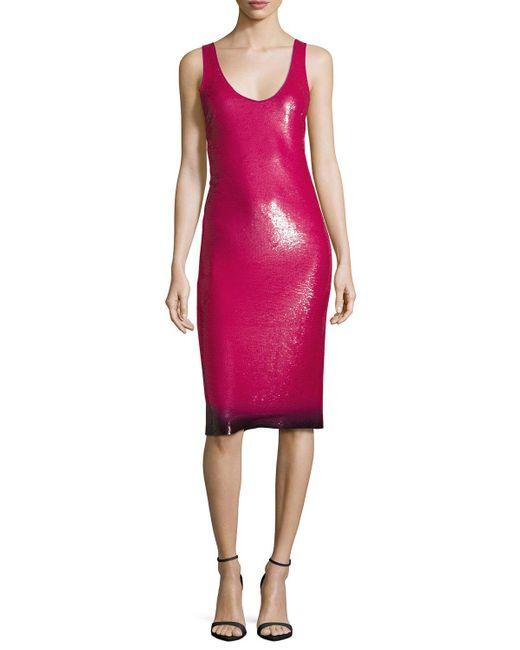 Ralph Lauren Collection | Pink Sequined Ombre-hem Sleeveless Dress | Lyst