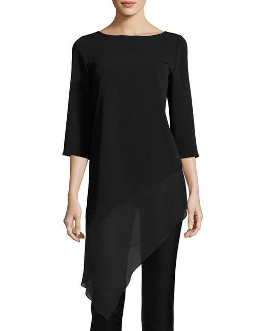 St. John | Black Cady Asymmetric-hem 3/4-sleeve Top | Lyst