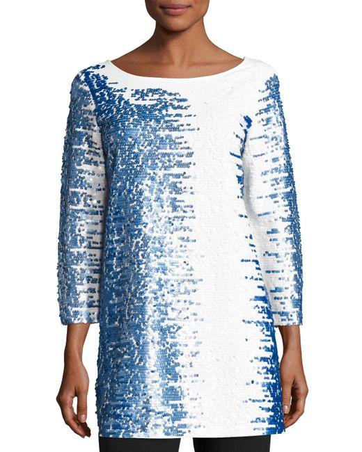 Joan Vass   White 3/4-sleeve Gradient Sequined Tunic   Lyst