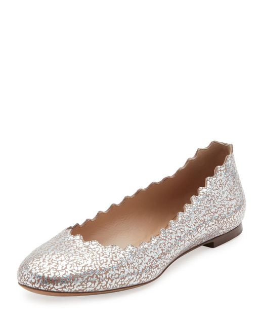 Chloé | Multicolor Lauren Scalloped Metallic Leather Ballerina Flat | Lyst