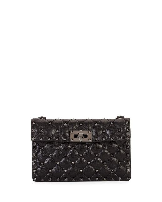 Valentino | Black Rockstud Quilted Leather Crossbody Bag | Lyst