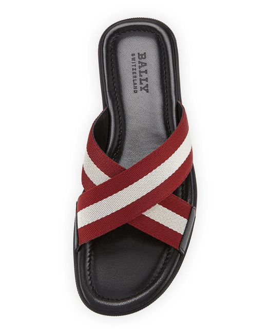 Bally Bonks Men S Trainspotting Stripe Fabric Slide Sandal