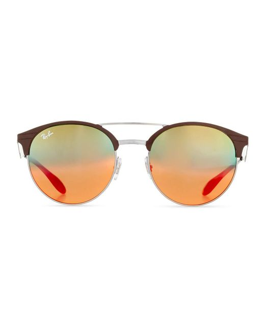 ray ban mirrored iridescent round double bridge sunglasses in black lyst. Black Bedroom Furniture Sets. Home Design Ideas