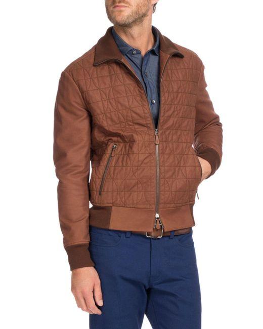 Ribbed sleeve leather jacket