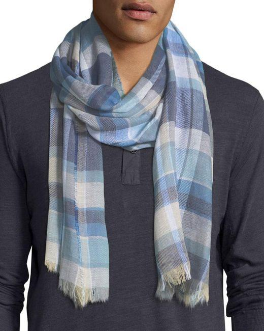 Begg & Co | Blue Cottlea Plaid Cotton-linen Scarf for Men | Lyst