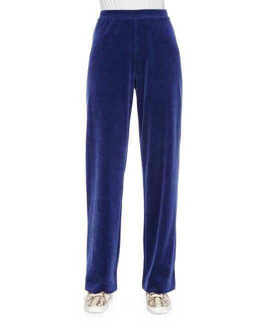 Joan Vass   Blue Velour Full-length Jog Pants   Lyst