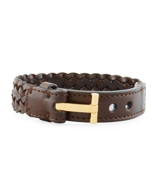 Tom Ford   Brown Men's Braided Calf Leather T-buckle Bracelet for Men   Lyst