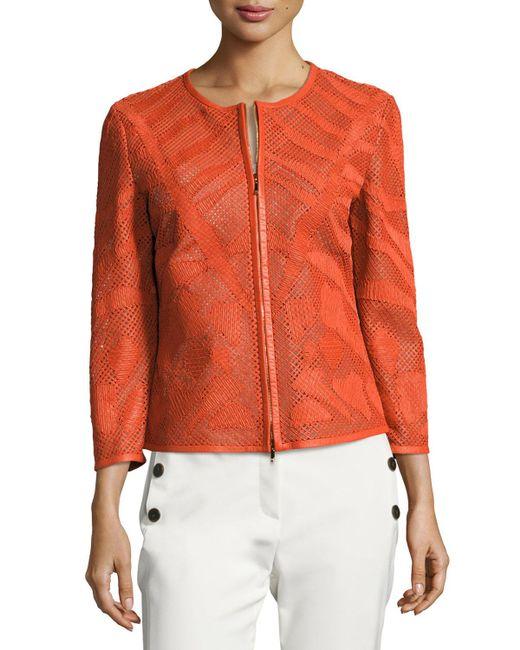 ESCADA   Orange Leaf-cut Leather 3/4-sleeve Jacket   Lyst