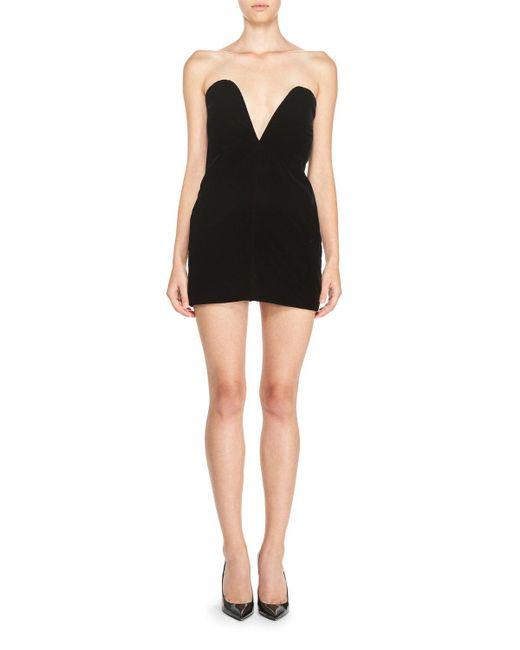 Saint Laurent | Black Strapless Sweetheart Velvet Mini Dress | Lyst