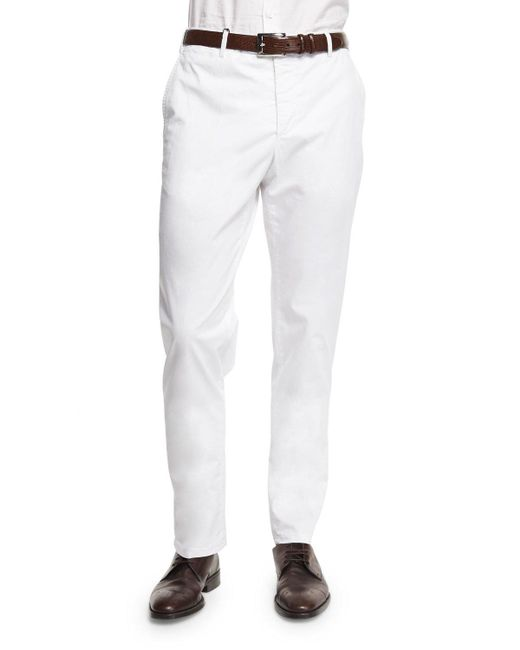 Zanella | White Parker Cotton-stretch Flat-front Trousers for Men | Lyst