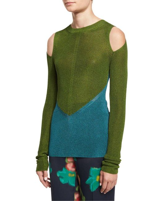 Etro | Blue Bicolor Cold-shoulder Sweater | Lyst