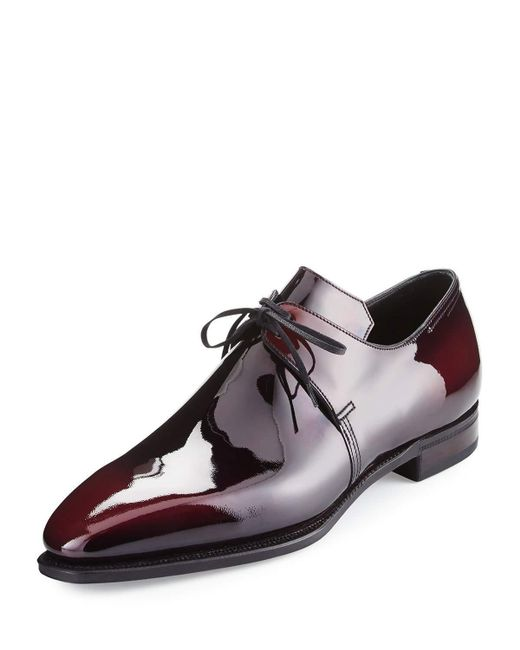 corthay arca patent leather derby shoe for lyst