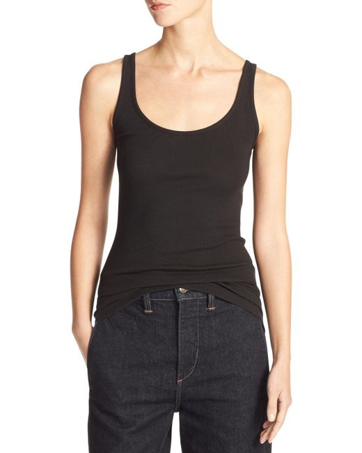 Vince | Black Scoop Neck Tank | Lyst