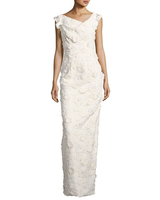 Black Halo | White Jackie Anniversary Floral Lace Column Gown | Lyst