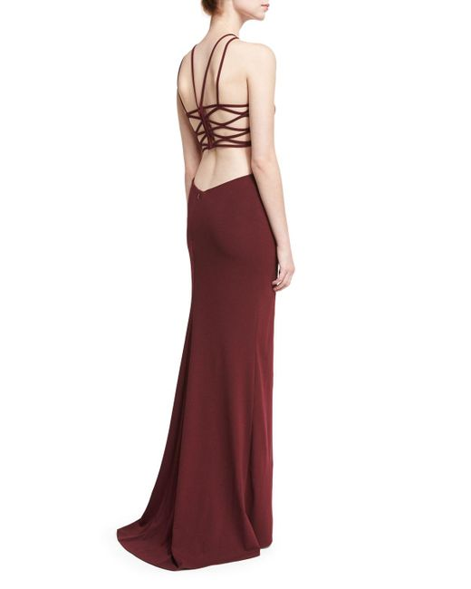 La Femme | Red Sleeveless Crepe Lattice Gown | Lyst
