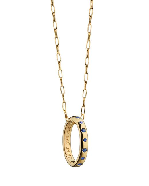Monica Rich Kosann | Metallic 18k I Love You More Sapphire Poesy Ring Necklace | Lyst
