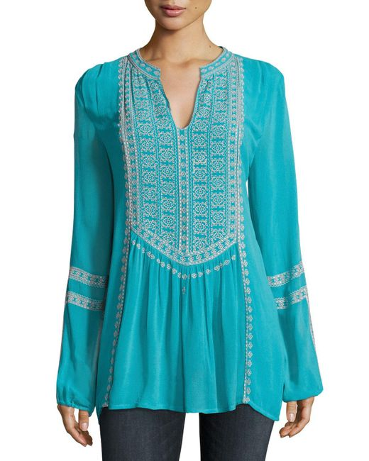 Tolani - Blue Lauren Embroidered Boho Blouse - Lyst