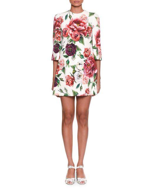 Dolce & Gabbana - Multicolor 3/4-sleeve Rose & Peony-print Wool Crepe Knee-length Dress - Lyst