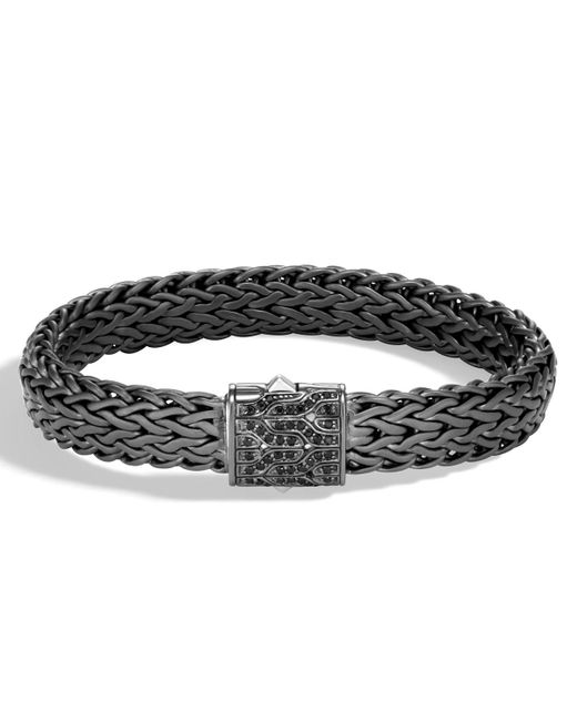 John Hardy | Men's Classic Chain Rhodium-plated Bracelet With Black Sapphire for Men | Lyst