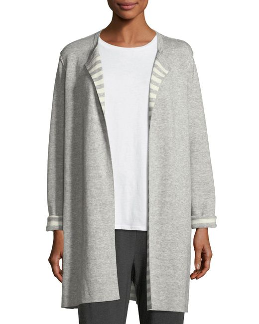 Eileen Fisher | Gray Organic Cotton Cashmere Reversible Cardigan | Lyst