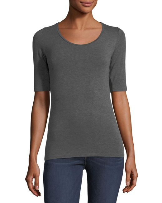 Neiman Marcus - Gray Half-sleeve Scoop-neck Top - Lyst
