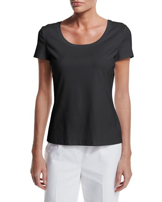 Lafayette 148 New York - Black Short-sleeve Cotton Tee - Lyst