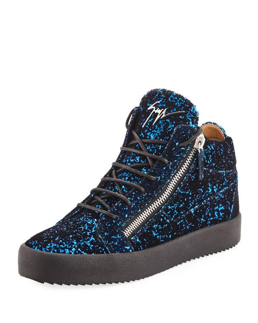 Giuseppe Zanotti - Blue Men's Glitter Velvet Mid-top Sneakers for Men - Lyst