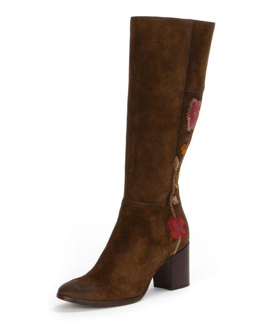 Frye - Brown Nova Flower Tall Suede Boot - Lyst