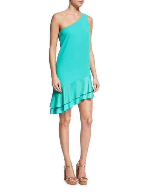 Trina Turk | Blue Lunaria One-shoulder Tiered Flounce Dress | Lyst