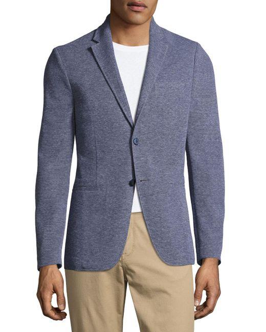 Michael Kors | Blue Birdseye Knit Two-button Blazer for Men | Lyst