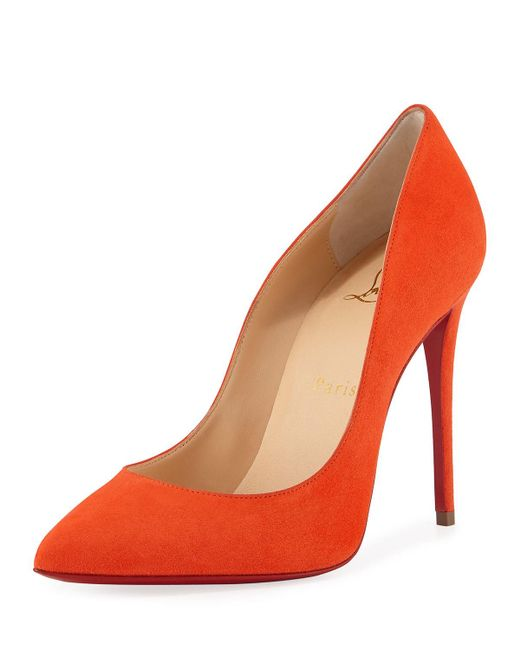 Christian Louboutin | Orange Pigalle Follies Suede Point-toe Red Sole Pump | Lyst