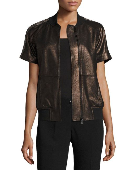 Neiman Marcus | Black Short-sleeve Chain-trimmed Leather Bomber Jacket | Lyst