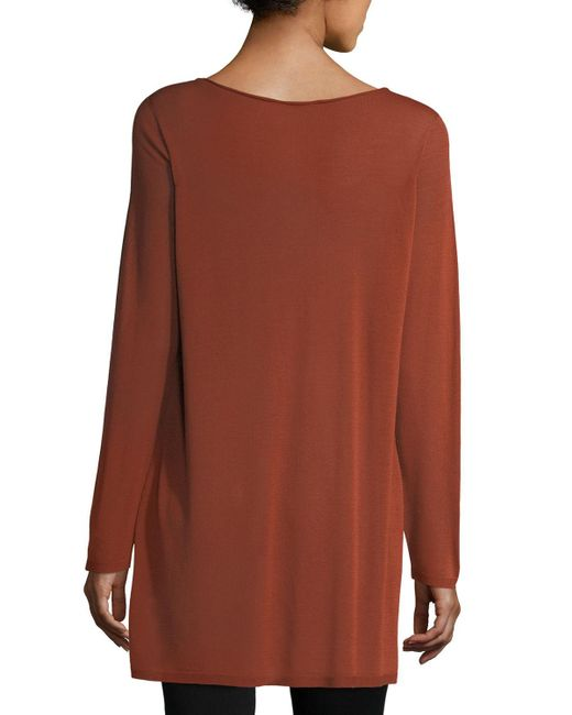 Eileen Fisher   Brown Long-sleeve Seamless Knit Ballet-neck Tunic   Lyst
