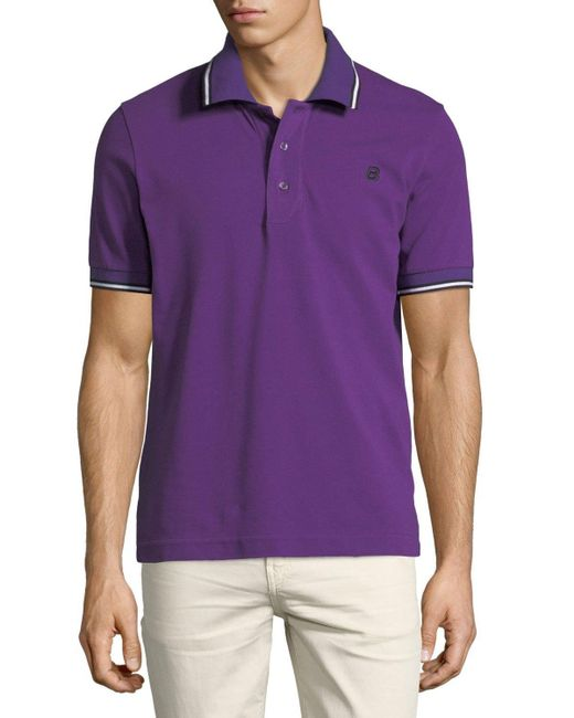 Bally Striped Cotton Pique Polo Shirt In Purple For Men Lyst