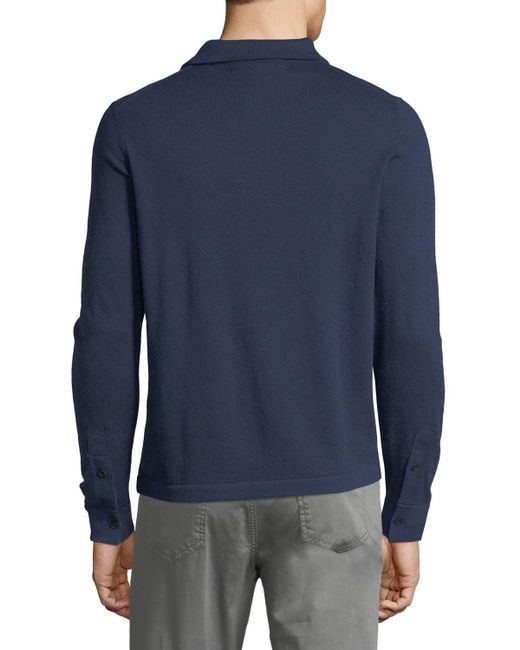Neiman Marcus   Blue Cashmere Long-sleeve Polo Sweater for Men   Lyst
