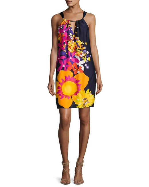 Trina Turk | Yellow Roe Halter-neck Floral-print Shift Dress | Lyst