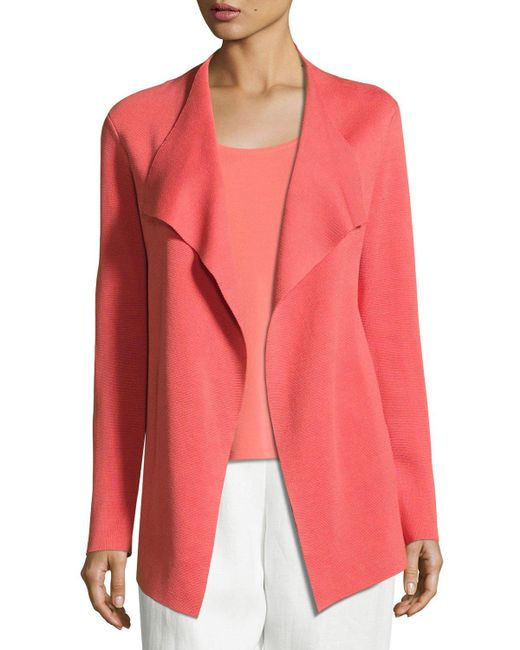 Eileen Fisher | Pink Open Interlock Silk and Cotton-Blend Jacket | Lyst