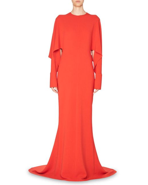 Stella McCartney | Red Draped-sleeve Cady Gown | Lyst