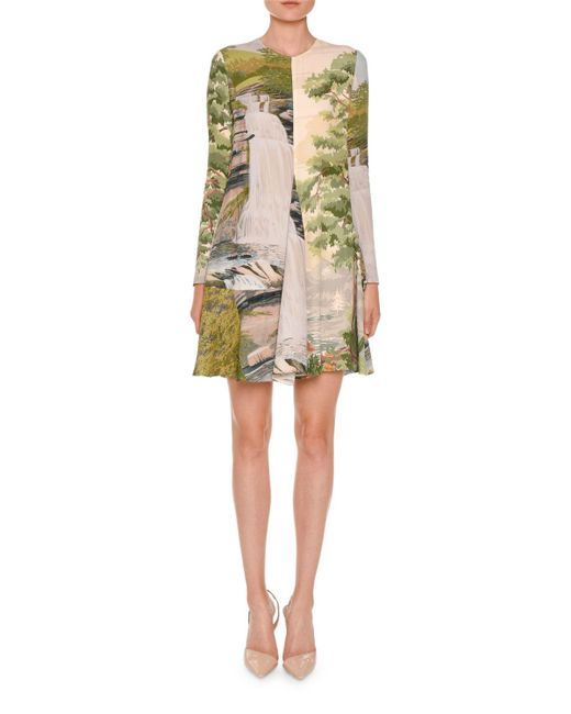 Stella McCartney | Natural Long-sleeve Landscape-print Swing Dress | Lyst