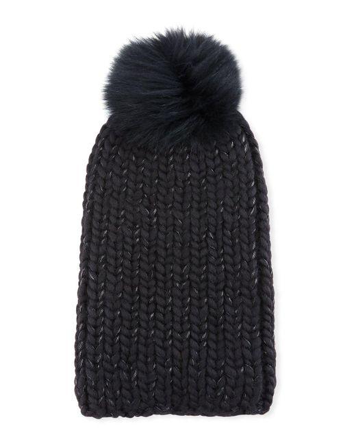 Eugenia Kim   Black Rain Fur-pompom Beanie Hat   Lyst