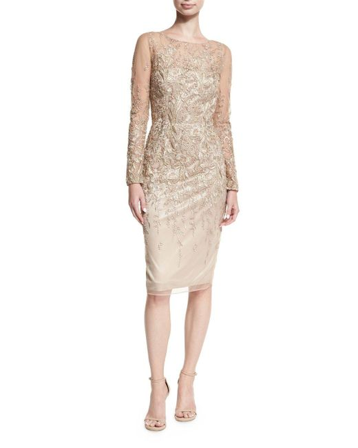 David Meister | Long-sleeve Embroidered Metallic Lace Cocktail Dress | Lyst