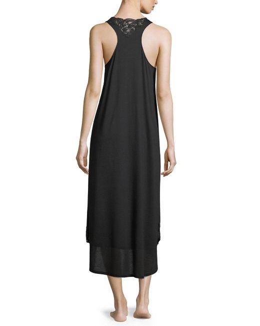 Natori   Black Bliss Lace-inset Sleeveless Cotton Nightgown   Lyst