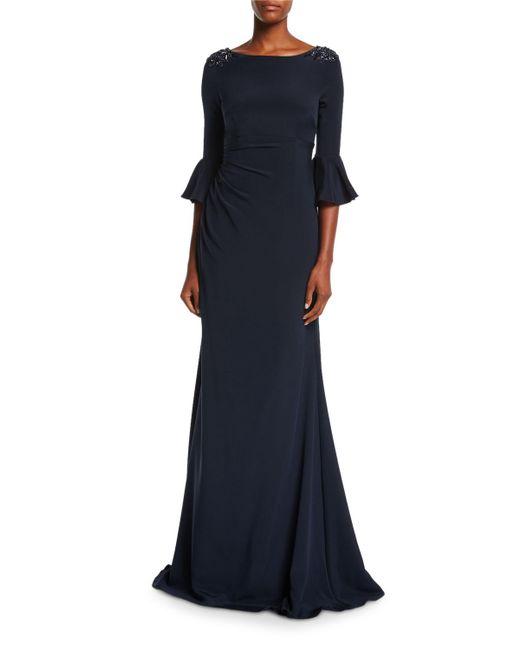 David Meister | Blue Boat-neck Jeweled-shoulder Ruched Crepe Evening Gown | Lyst