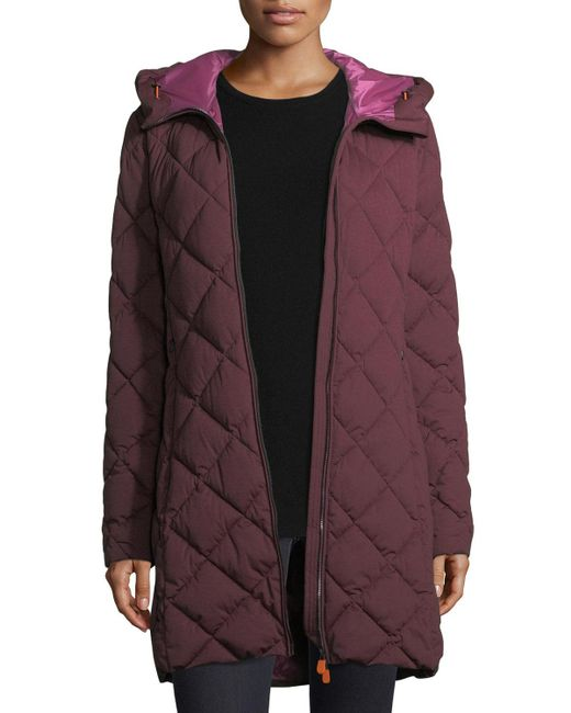 Save The Duck | Purple Angy Diamond-quilted Zip-front Puffer Coat | Lyst