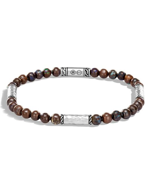 John Hardy | Metallic Men's Classic Chain Hammered Sterling Silver & Boulder Opal Bead Bracelet for Men | Lyst