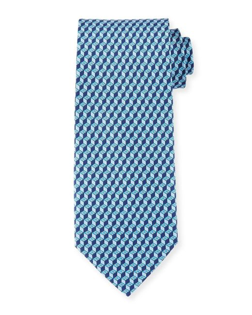 Ferragamo | Pink 3d Gancini-print Silk Tie for Men | Lyst