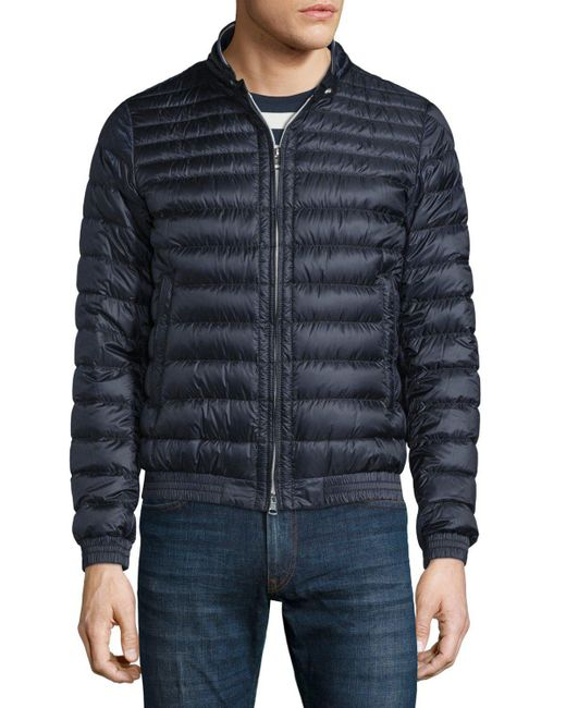 Moncler Garin Lightweight Quilted Down Jacket In Blue For